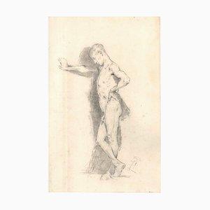 Posing Male Model - Original Drawing 19th Century 19th century
