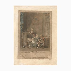 L'Occupation - Original Lithograph hand watercolored by T.E. Lingée Early 19th Century