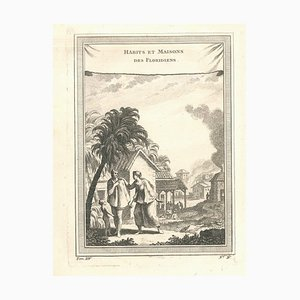 Habits et Maisons des Floridiens - Original Etching by J.-N. Bellin - 1747 1747