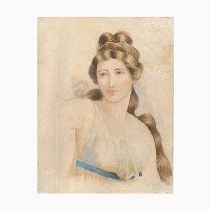 Femme Souriante - Dessin au Crayon et Aquarelle sur Papier - 18ème Siècle 18ème Siècle