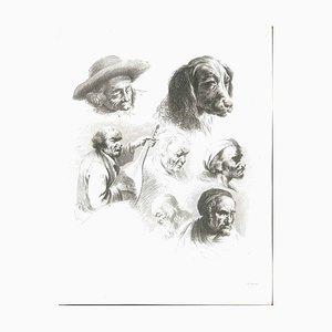 Étude de Six Têtes et un Chien - Gravure Originale par J.-J. Boissieu Seconde Moitié du 18ème Siècle