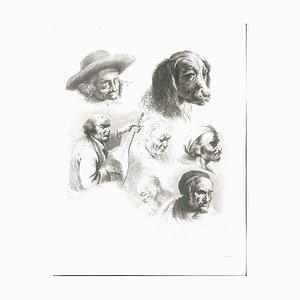 Study of Six Heads and a Dog - Original Etching by J.-J. Boissieu Second Half of 18th Century