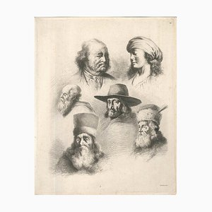 Acquaforte Studio di sei teste - Incisione originale di J.-J. Boissieu, seconda metà XVIII secolo