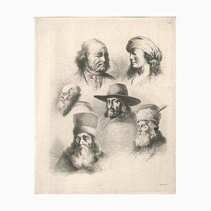 Study of Six Heads - Original Etching by J.-J. Boissieu Second Half of 18th Century