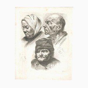 Étude de Cinq Têtes - Gravure Originale par J.-J. Boissieu Seconde Moitié du 18ème Siècle