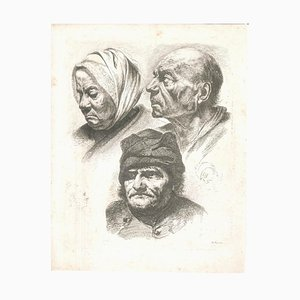 Study of Five Heads - Original Etching by J.-J. Boissieu Second Half of 18th Century