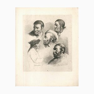 Study of Five Male Portraits - Original Etching by J.-J. Boissieu Second Half of 18th Century