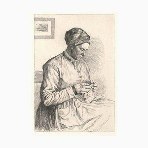 La Ravaudeuse de Cesson - Original Radierung von PE LeRat - 1874 1874
