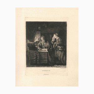 Le Peseur d'Or - Original Etching by Léopold Flameng - 1873 1873