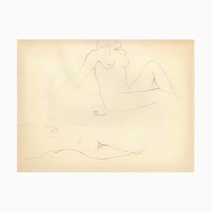 Group of Female Nudes - Original Pencil Drawing by Ernest Rouart - 1890s 1890s