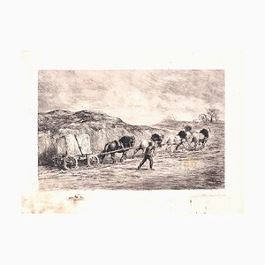 Horse Team - Original Etching by F. Jacque - Late 19th Century Late 19th Century