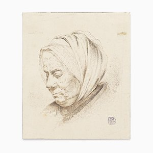 Visage de Femme - Original Etching by I.J. de Caussin - Early 19th Century Early 19th Century