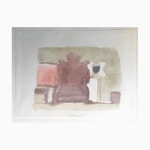 Grey Volumes with a Touch of Color - Vintage Print after Giorgio Morandi - 1973 1973