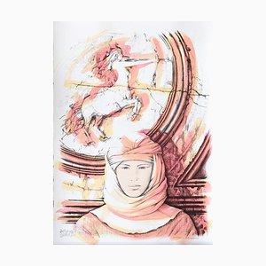 Lithographie Sagittarius - Original Hand-Colored par A. Quarto - 1985 1985