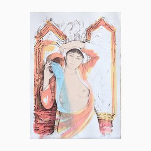 Aquarius - Original Hand-Colored Lithograph by A. Quarto - 1985 1985