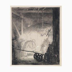 Gravure à l'Eau-Forte La Forge par A. Delasalle - 1904 1911
