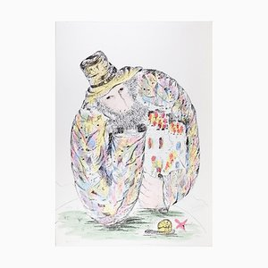 Thinking About My World - Original Lithographie von R. Cardelli - 1980er 1980er