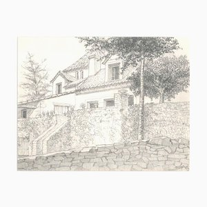 Les Eyzies (Französische Landschaft) - Original Bleistiftzeichnung 1986 1986