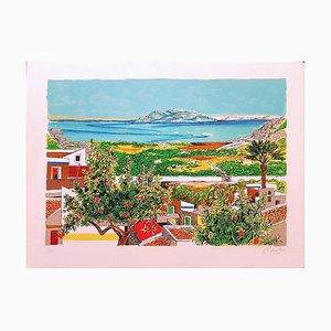 The Gulf of Palermo - Original Lithografie von Renzo Meschis - 1989 1989