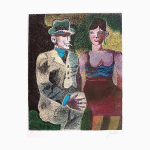 Luisa and Ippolito on the Traway- Original Lithograph by Franco Gentilini - 1980 1980