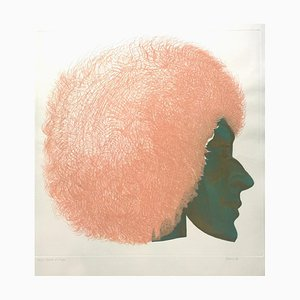 Profile in Pink and Green - Original Etching by Giacomo Porzano - 1972 1972