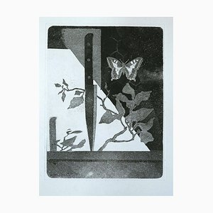 Knife and Butterfly - Original Etching by Leo Guida - 1970 1970