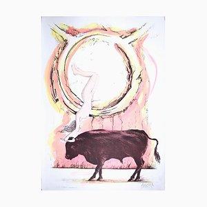 Lithographie Taurus Original Hand-Colored par A. Quarto - 1985 1985