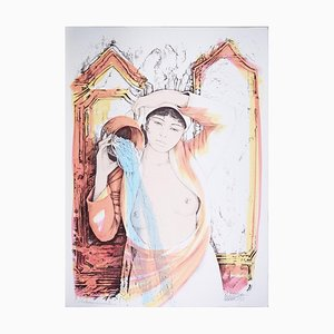 Aquarius - Original Hand-Colored Lithograph by A. Quarto - 1985 1985
