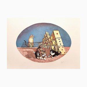 Cats Playing - Original Lithographie von G. Giuggioli - 1980 1980