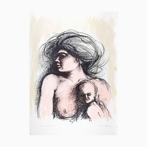 Motherhood - Original Lithograph by B.E. Callegari - 1980s 1980s