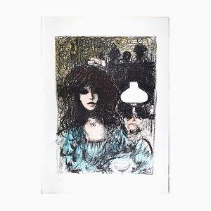 Woman at Bar - Original Lithograph by B.E. Callegari - 1980s 1980s