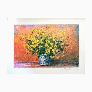 Vase de Jerusalem Artichoke Flowers - Sérigraphie Originale par F. Bocchi 1980s