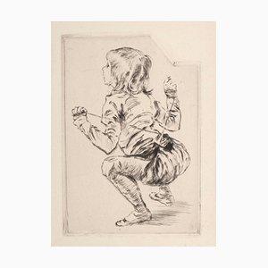 Enfant à accroupi - Incisione originale, set di 5 puntasecca, inizio XX secolo, inizio XX secolo