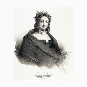 Ritratto di Francesco Petrarca - Litografia originale di H. Grevedon - 1834 1834