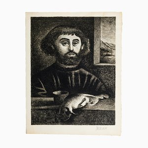 Portrait of a Man - Black and White Etching by G. Sacksick - Late 20th Century Late 20th Century