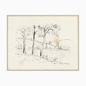 Paysage - Original China Ink Drawing by Abel Pierre Renault - Mid 1900 Mid 1900