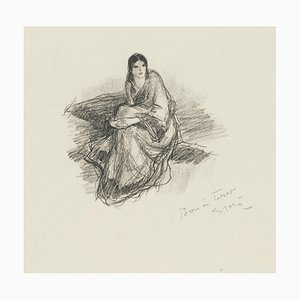 Une Femme - Original Lithograph by Georges Gobo 1940s