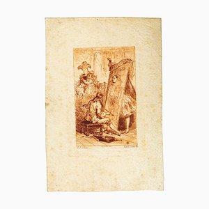 Colombine - Original Radierung - Frankreich spätes 19. Jahrhundert spätes 19. Jahrhundert