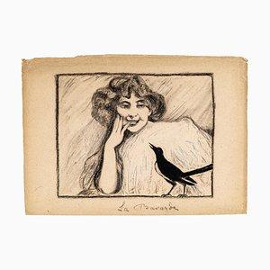 La Bavarde - Original Pen and Charcoal Drawing - Mid 20th Century Mi 20th Century