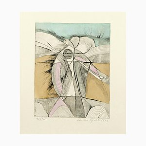 Abstract Landscape - Original Etching Hand-Watercolored - 1971 1971