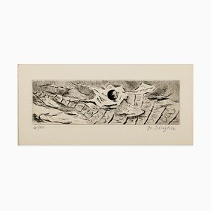 Abstract Landscape - Original Etching and Drypoint - 1970s 1970s