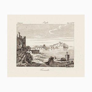 View of Taranto - Original Etching by Achille Parboni - 1843 1843