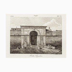 La Porta Angelica - Original Etching by Alessandro Moschetti - 1843 1843