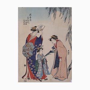 Japanese Women - Original Woodcut Print by Katsukawa Shuncho - Late 1700 Late 18th Century