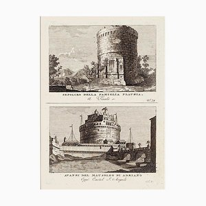 Ancient Roman Ruins - Original Etching and Drypoint - Late 1700 Late 18th Century