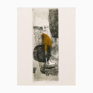 Composition Abstraite - Gravure à l'Aquarelle et Originale par René Lubarow - 1965 1965