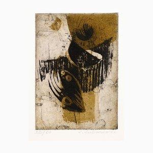 Composition Abstraite - Gravure à l'Eau-Forte et Aquatinte par Renée Lubarow - 1966 1966
