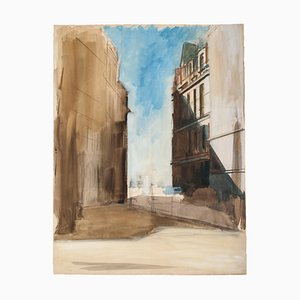 The Village - Original Watercolor on Paper by Emile Deschler - 1980s 1980s