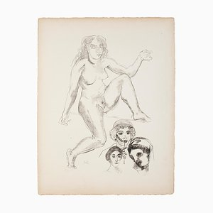 Standing Female Nude with Portraits - Original Lithograph by Raymond Veysset Mid 1960s