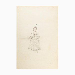 Junge Frau - Original China Tinte Dawing on Paper - Frühes 20. Jahrhundert Frühes 20. Jahrhundert